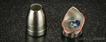 View from up above of fired Liberty Ammunition .380 Auto (ACP) bullets compared to an unfired round