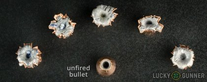 View from up above of fired Fiocchi 9mm Luger (9x19) bullets compared to an unfired round