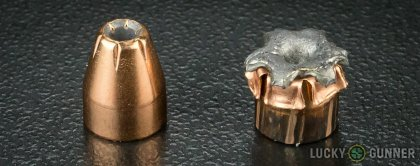 Side by side comparison of an unfired Hornady .380 Auto (ACP) bullet vs. the unfired round