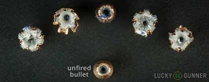 View from up above of fired Fiocchi .45 ACP (Auto) bullets compared to an unfired round