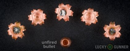 Side by side comparison of an unfired Federal .357 Magnum bullet vs. the unfired round