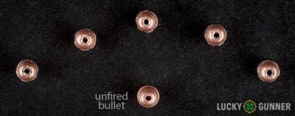 Side by side comparison of an unfired CCI .22 Long Rifle (LR) bullet vs. the unfired round