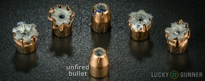 Line-up of Fiocchi .45 ACP (Auto) ammunition - fired vs. unfired