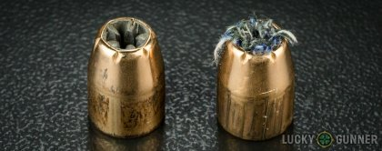 Side by side comparison of an unfired PMC .45 ACP (Auto) bullet vs. the unfired round