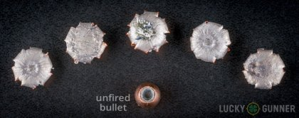 Side by side comparison of an unfired Corbon .357 Magnum bullet vs. the unfired round
