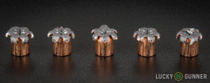 Line-up of Speer 9mm Luger (9x19) ammunition - fired vs. unfired