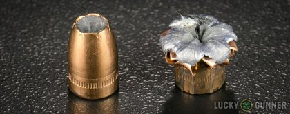 Side by side comparison of an unfired SIG SAUER 9mm Luger (9x19) bullet vs. the unfired round