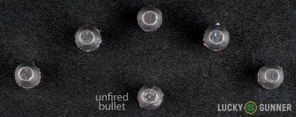 View from up above of fired Sellier & Bellot .32 (Smith & Wesson) Long bullets compared to an unfired round