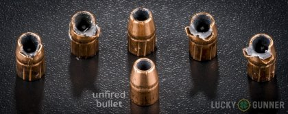 View from up above of fired Federal .38 Special bullets compared to an unfired round