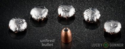 Line-up of Hornady 10mm Auto ammunition - fired vs. unfired
