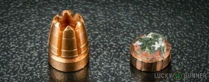 Line-up of G2 Research .380 Auto (ACP) ammunition - fired vs. unfired