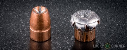 Line-up of Speer .357 Magnum ammunition - fired vs. unfired
