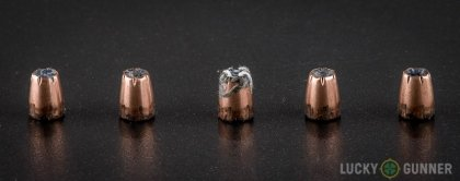 Line-up of Hornady .25 Auto (ACP) ammunition - fired vs. unfired