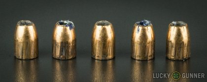 View from up above of fired Federal .45 ACP (Auto) bullets compared to an unfired round