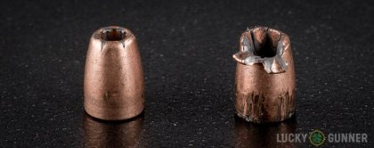 Side by side comparison of an unfired Speer .25 Auto (ACP) bullet vs. the unfired round