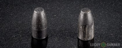 Side by side comparison of an unfired Sellier & Bellot .32 (Smith & Wesson) Long bullet vs. the unfired round