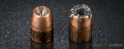 Side by side comparison of an unfired Speer .40 S&W (Smith & Wesson) bullet vs. the unfired round