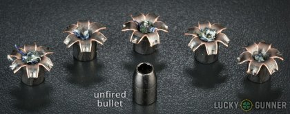 Side by side comparison of an unfired Barnes .40 S&W (Smith & Wesson) bullet vs. the unfired round