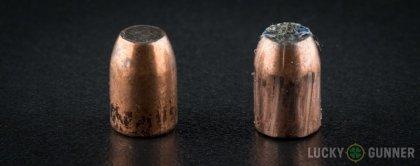 Side by side comparison of an unfired Federal 10mm Auto bullet vs. the unfired round