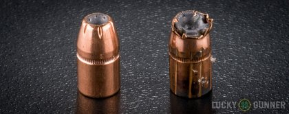Line-up of Hornady .38 Special ammunition - fired vs. unfired
