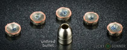 Side by side comparison of an unfired Liberty Ammunition .45 ACP (Auto) bullet vs. the unfired round