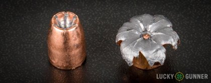 View from up above of fired Speer .40 S&W (Smith & Wesson) bullets compared to an unfired round