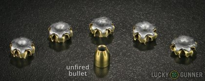 Side by side comparison of an unfired Magtech .380 Auto (ACP) bullet vs. the unfired round