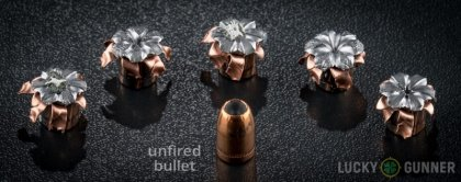 Line-up of SIG SAUER 10mm Auto ammunition - fired vs. unfired