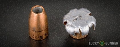 View from up above of fired Federal 9mm Luger (9x19) bullets compared to an unfired round