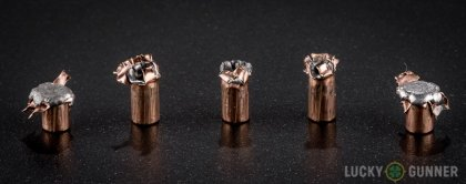 Line-up of Hornady .22 Magnum (WMR) ammunition - fired vs. unfired