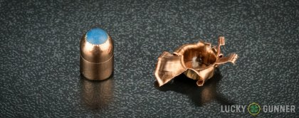 View from up above of fired Glaser Safety Slug 9mm Luger (9x19) bullets compared to an unfired round