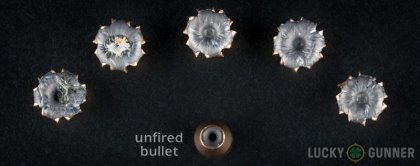 Image displaying fired .357 Sig rounds compared to an unfired bullet