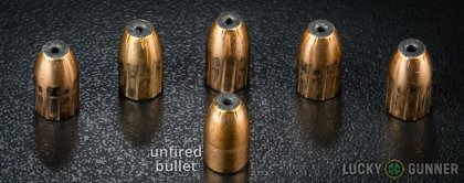 Side by side comparison of an unfired Prvi Partizan 9mm Luger (9x19) bullet vs. the unfired round