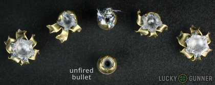 Line-up of Remington .40 S&W (Smith & Wesson) ammunition - fired vs. unfired