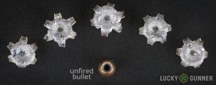 Image displaying fired .45 ACP (Auto) rounds compared to an unfired bullet