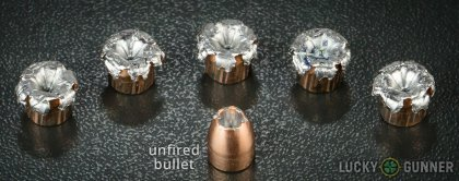Side by side comparison of an unfired Speer .380 Auto (ACP) bullet vs. the unfired round