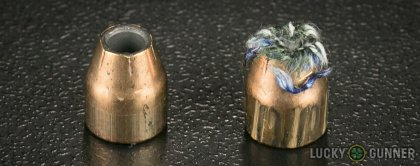 Image displaying fired .380 Auto (ACP) rounds compared to an unfired bullet