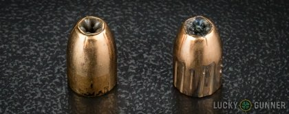 Side by side comparison of an unfired PMC 9mm Luger (9x19) bullet vs. the unfired round