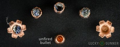 Line-up of Magtech .40 S&W (Smith & Wesson) ammunition - fired vs. unfired