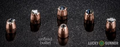 Line-up of Hornady .32 Auto (ACP) ammunition - fired vs. unfired