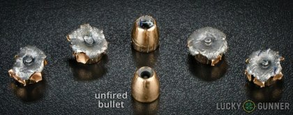 Line-up of Federal .45 ACP (Auto) ammunition - fired vs. unfired