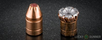 Side by side comparison of an unfired Hornady .357 Magnum bullet vs. the unfired round