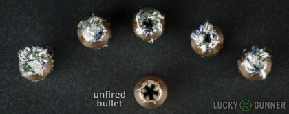 Line-up of PMC .40 S&W (Smith & Wesson) ammunition - fired vs. unfired