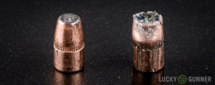 Side by side comparison of an unfired Federal .327 Federal Magnum bullet vs. the unfired round