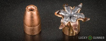 Side by side comparison of an unfired Winchester 9mm Luger (9x19) bullet vs. the unfired round