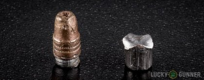 Side by side comparison of an unfired Winchester .22 Long Rifle (LR) bullet vs. the unfired round