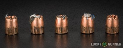 Line-up of Winchester .380 Auto (ACP) ammunition - fired vs. unfired