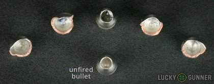 Side by side comparison of an unfired Liberty Ammunition .380 Auto (ACP) bullet vs. the unfired round