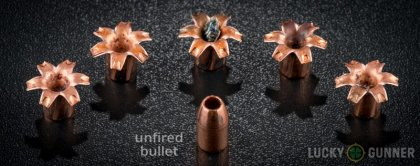 View from up above of fired Barnes 10mm Auto bullets compared to an unfired round