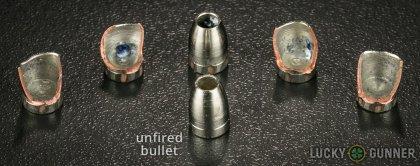 Line-up of Liberty Ammunition .380 Auto (ACP) ammunition - fired vs. unfired